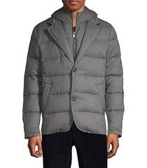 hooded down-filled wool-blend jacket