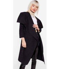 womens petite tie waist waterfall coat - black