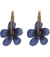 aretes flores cayenas mini azúl oscuro- atalí