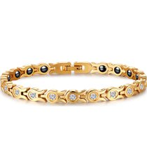 braccialetto a fila singola in acciaio inossidabile con zirconio magnetico per terapia a bracciale a catena in oro per le donne