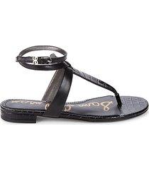 taiya croc-embossed leather toe-thong sandals