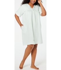 miss elaine plus size smocked waffle-knit zip robe