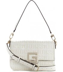 cartera brightside shoulder bag blanco guess