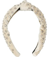 lele sadoughi crystal embellished knot headband - neutrals