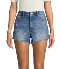 distressed embellished denim shorts