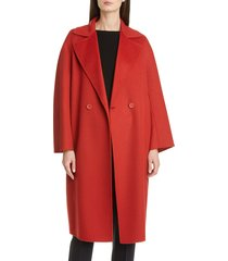 women's max mara ode double breasted wool blend coat, size 16 - red