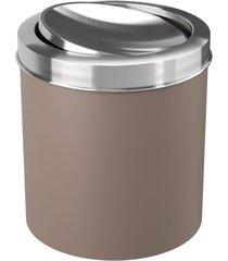 lixeira coza com tampa basculante inox warm gray marrom - marrom - dafiti