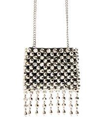 topshop fringe beaded crossbody bag - metallic
