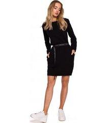 korte jurk moe m590 pullover jurk met embleemriem - crème