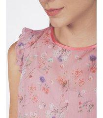 blusa adrissa estampado mini print palo de rosa