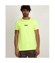 "camiseta masculina slim try again"" manga curta gola careca amarelo neon"""