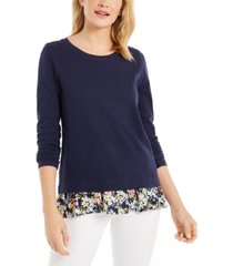 charter club petite floral-print-hem top, created for macy's