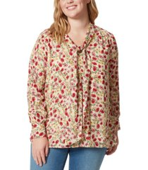 jessica simpson trendy plus size tie-neck printed blouse