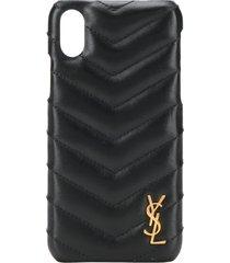 saint laurent quilted effect iphone case - black
