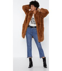womens surfin' bird faux fur coat - camel