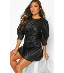 petite faux leather puff sleeve dress, black