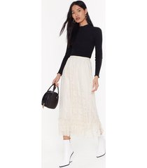 womens party's over tier lace midi skirt - cream