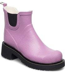short rub high heel shoes boots rain boots ankle boot - flat lila ilse jacobsen