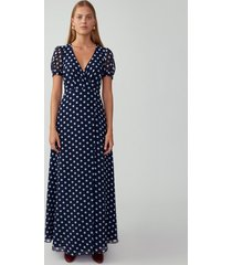 bardot dot navy v neck wrap dress