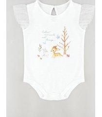 body infantil bambi e tambor com tule manga curta off white