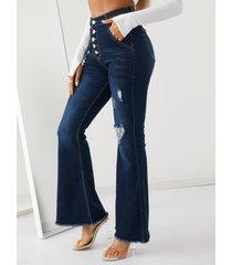 bolsillos laterales cintura alta acampanada jeans