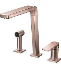 misturador monocomando para cozinha mesa bistrô com ducha manual cobre escovado - 00647369 - docol - docol