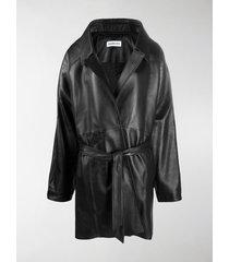 balenciaga oversize belted leather coat