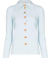 a.w.a.k.e. mode wide collar button up shirt - blue