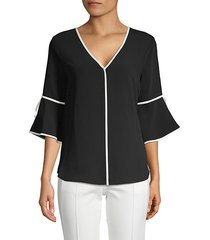 bell-sleeve v-neck top