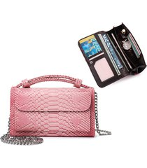donna vera pelle long clutch borsa solid 9 card slot portafoglio a catena crossbody borsa