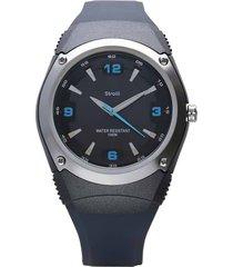 miami – orologio con cinturino nero, dettagli blu e quadrante in acciaio. per uomo