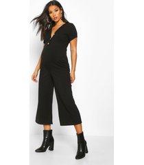 maternity button front rib cullotte jumpsuit, black