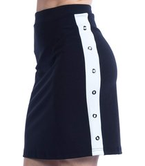saia curta carlan com faixa lateral de ílhos preta