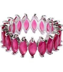 anel aliança navetes the ring boutique pedras cristais vermelho rubi ródio ouro branco