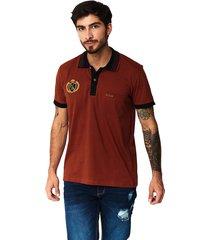camiseta tipo polo-puntazul-terracota-41450