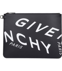 givenchy large zip pouch clutch in black leather