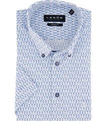 ledub shirt korte mouw print blauw wit modern fit