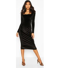 tall velvet bodycon midi dress, black