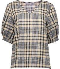 13217-20 ruit blouse pofmouw