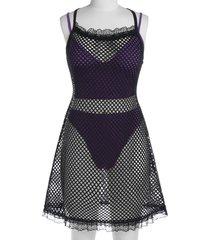 plus size lingerie high leg bra set with fishnet dress