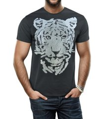 heads or tails men's tiger head graphic printed rhinestone studded t-shirt