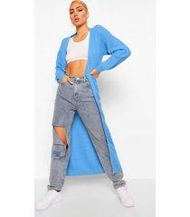 gewatteerde getailleerde jas met faux fur zoom, blue