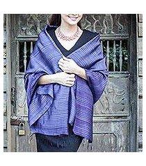 silk and cotton blend batik shawl, 'romance in indigo' (thailand)