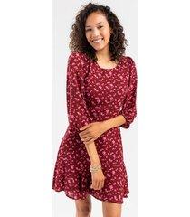 jackie floral godet dress - burgundy