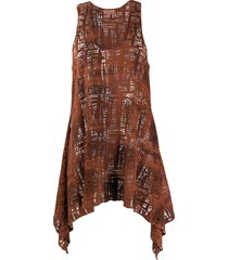 romeo gigli pre-owned 1990s open knit tank - brown