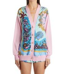 women's versace tresor de la mer print silk & cotton cardigan, size 12 us - pink