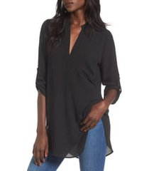 women's all in favor perfect henley tunic, size small - black