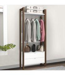 closet 2 gavetas 65 cm az1011 branco/nogal - tecno mobili