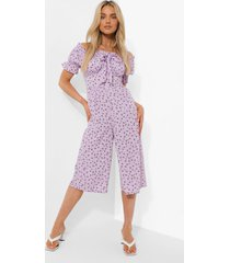 bloemen culotte jumpsuit met uitgesneden hals en pofmouwen, lilac