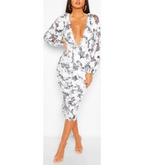 boohoo occasion sequin puff sleeve midi dress, white
